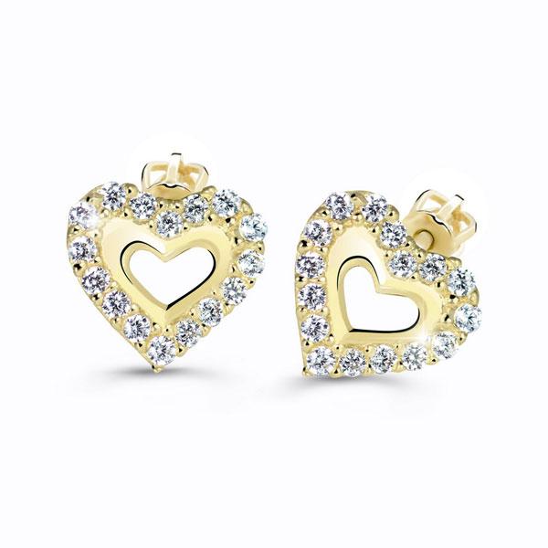 zlaté naušnice srdce