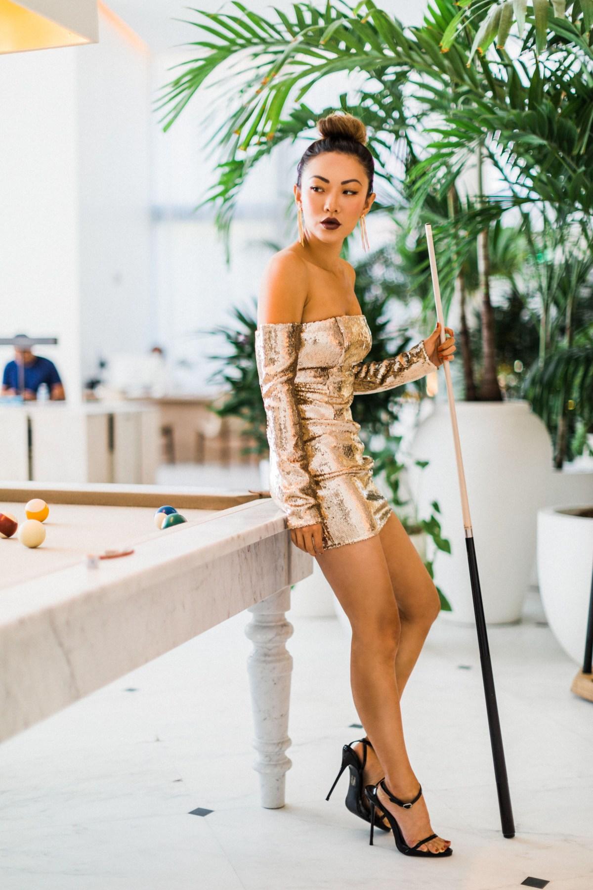 Hottest Party Dresses - Gold Sequin Mini Dress // Notjessfashion.com