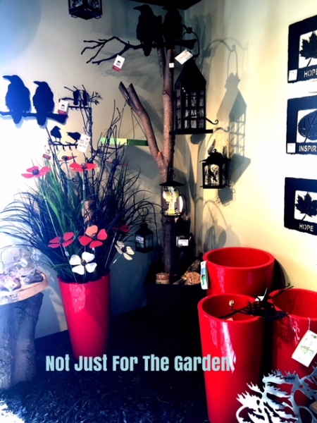 garden sculptures | metal flowers, bird feeders, made in canada