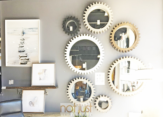 Round, decorative wall mirror art in various sizes