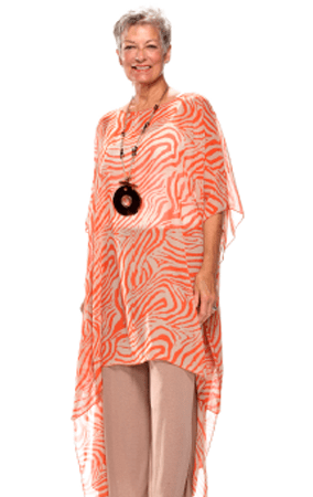 Peach and white, sheer flowy caftan by Raps women apparel, casual wear worn over a white tank top and kahki pants