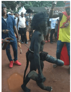 Weird Black Masquerade with Huge Manhood Spotted at a Festival in South East (Photos)