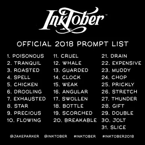 inktober lista 2018