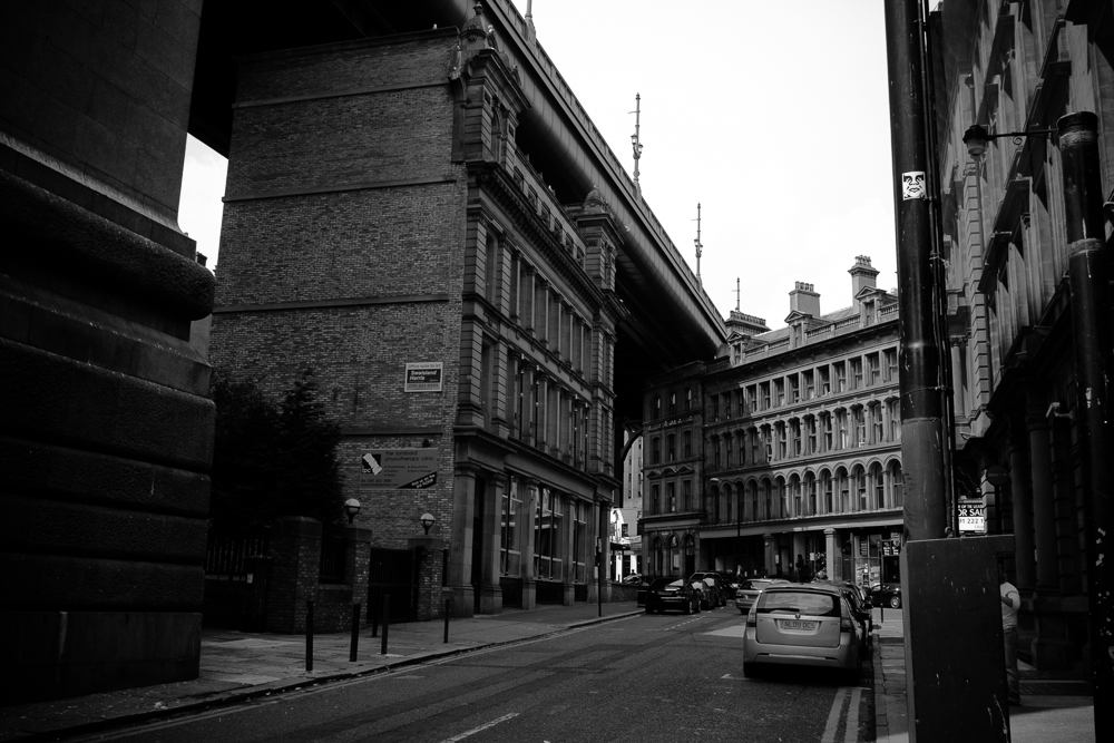 The contrasts of building styles accumulated in Newcastle over the years begin to show.