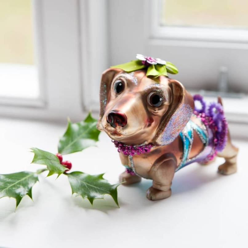 sausage dog christmas decoration image idea