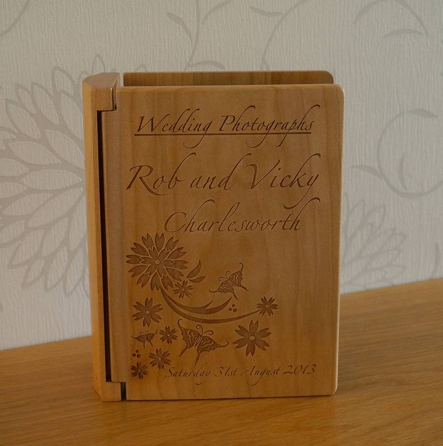 Personalised Wooden Wedding Photo Album By Laser Made