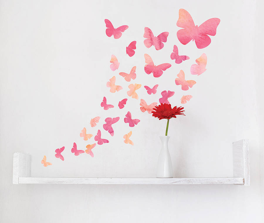 Watercolour Butterfly Wall Stickers By Parkins Interiors