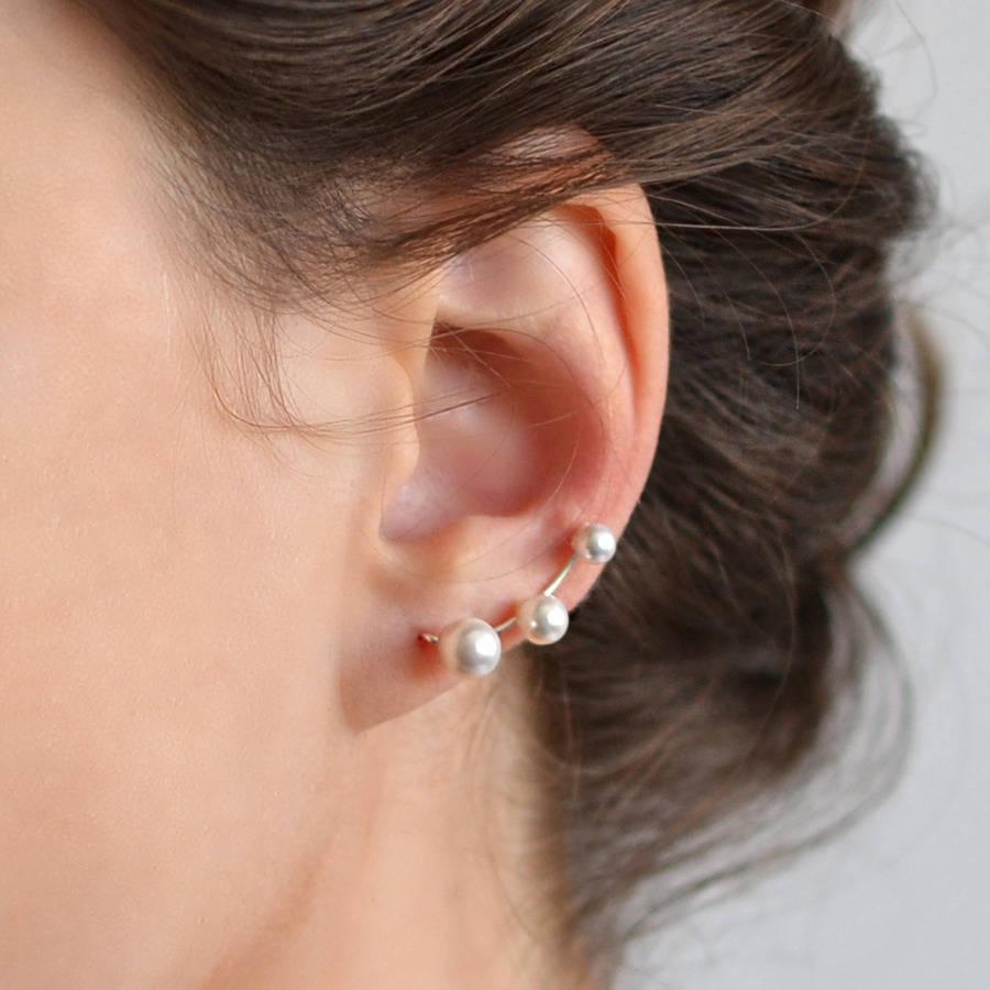 Sterling Silver Three Pearl Ear Climbers By Martha Jackson