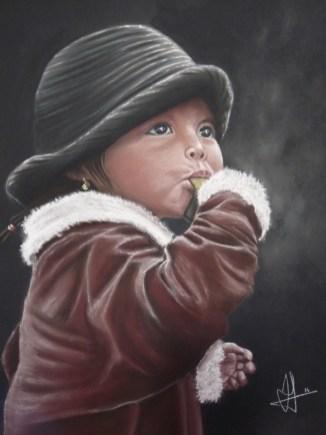 Petite fille à la crêpe, pastel