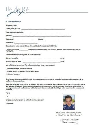 Bulletin souscription Ile de Ré Galop