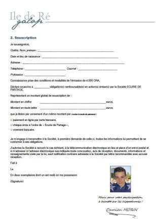 Bulletin souscription Ile de Ré Galop