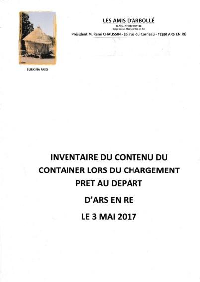 Amis d'Arbollé - Inventaire Container 2017