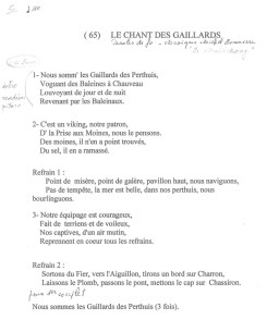 Paroles du Chant des Gaillards