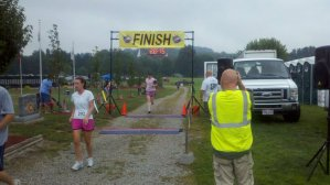 Crossing the finish!