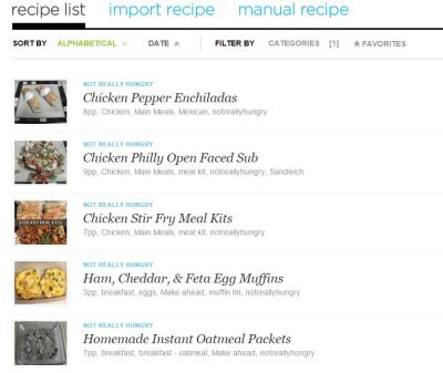 Pepperplate Recipe List