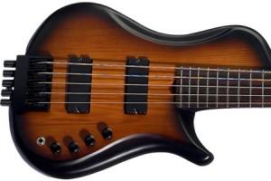 Brubaker Brute MJXSC Single Cut 5-String Bass - Satin Tobacco Double Burst finish