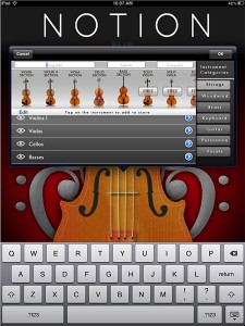 Notion for iPad: select instruments