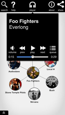 Discovr Music screen example (play)