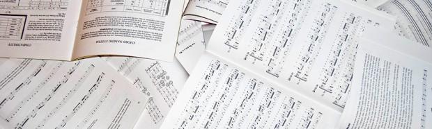 Piles of sheet music