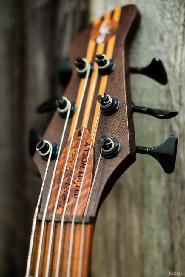 "Adam ""Nolly"" Getgood's G-Spot Basses Temptress Bass headstock"