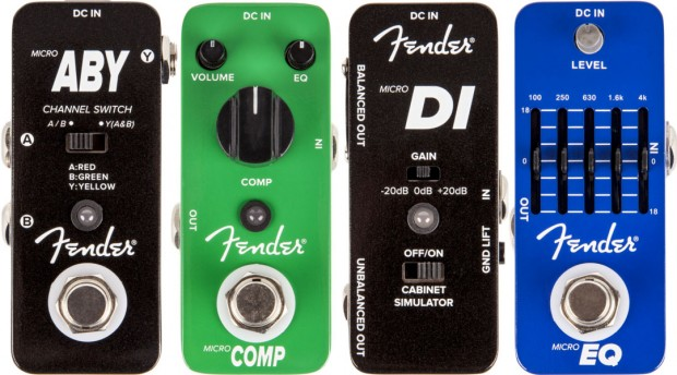 Fender's Micro-Sized ABY, Compressor, DI and EQ Pedals