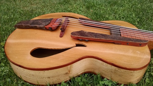 Whitt Guitars 5-String Fretless Archtop Acoustic Bass - Body Side View