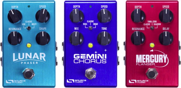 Source Audio Lunar Phaser, Gemini Chorus, and Mercury Flanger Pedals