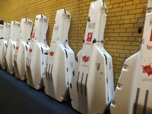 Double basses in flight cases
