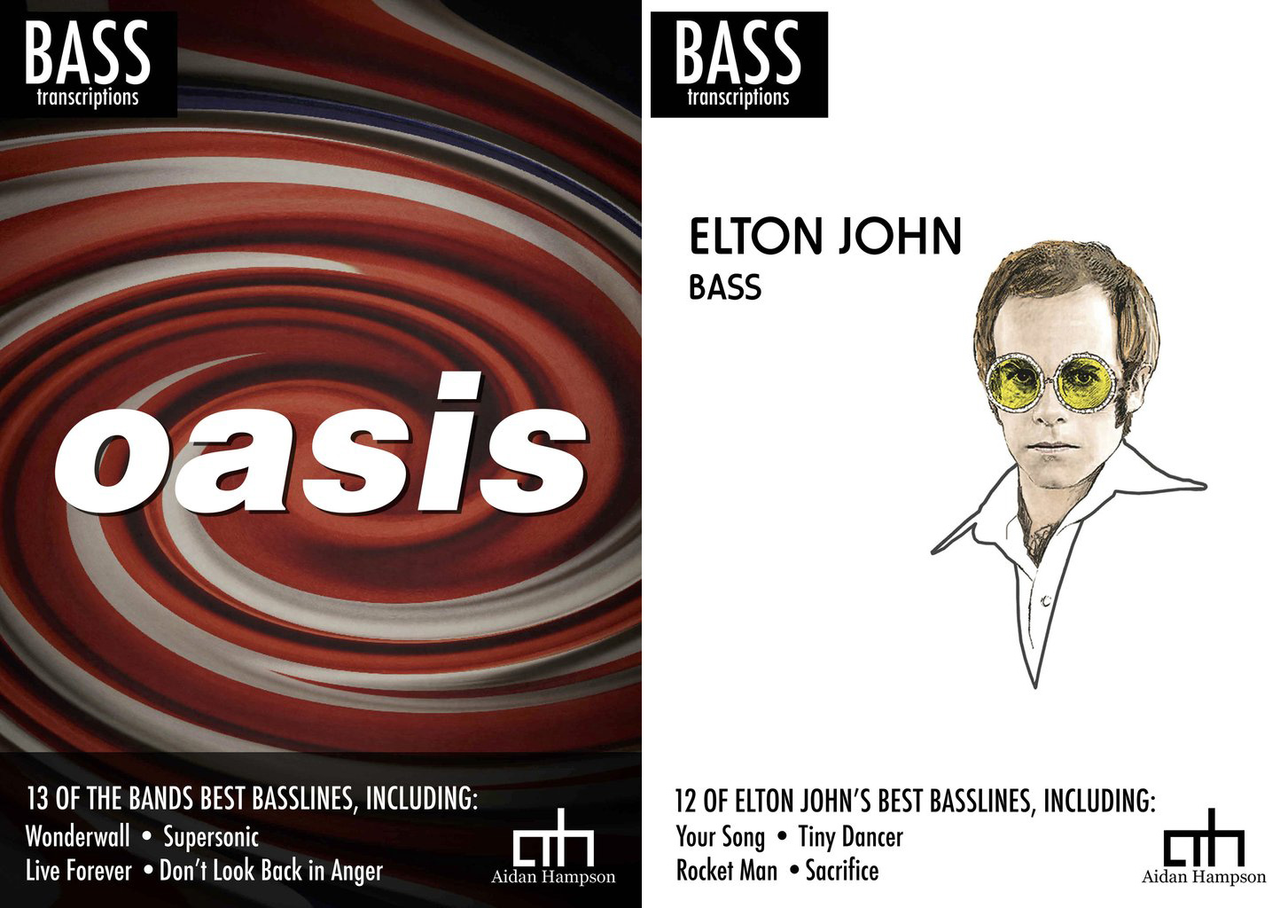 Aidan Hampson Oasis and Elton John Bass Transcription Books
