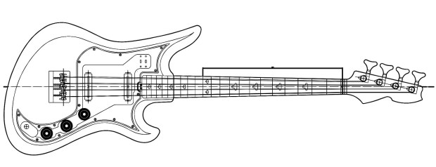 Eastwood Teisco Spectrum 5 Bass Drawing