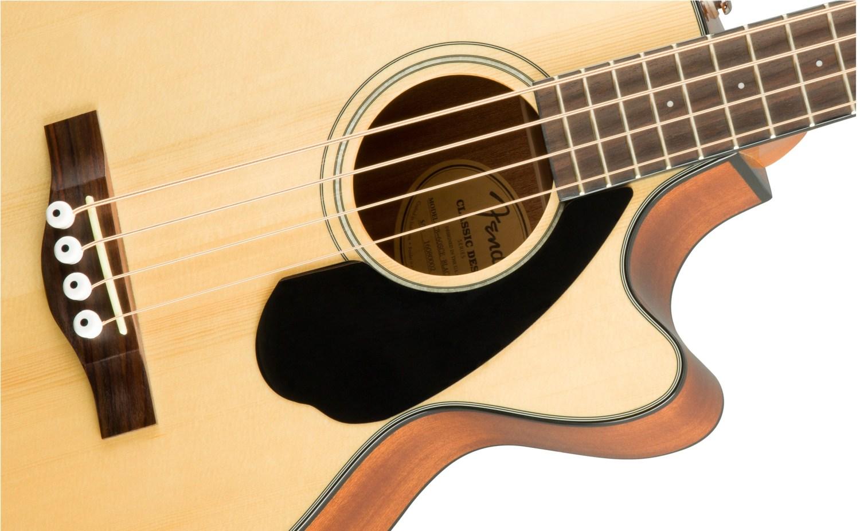 Fender CB-60SCE Acoustic Bass Guitar Natural Body Closeup