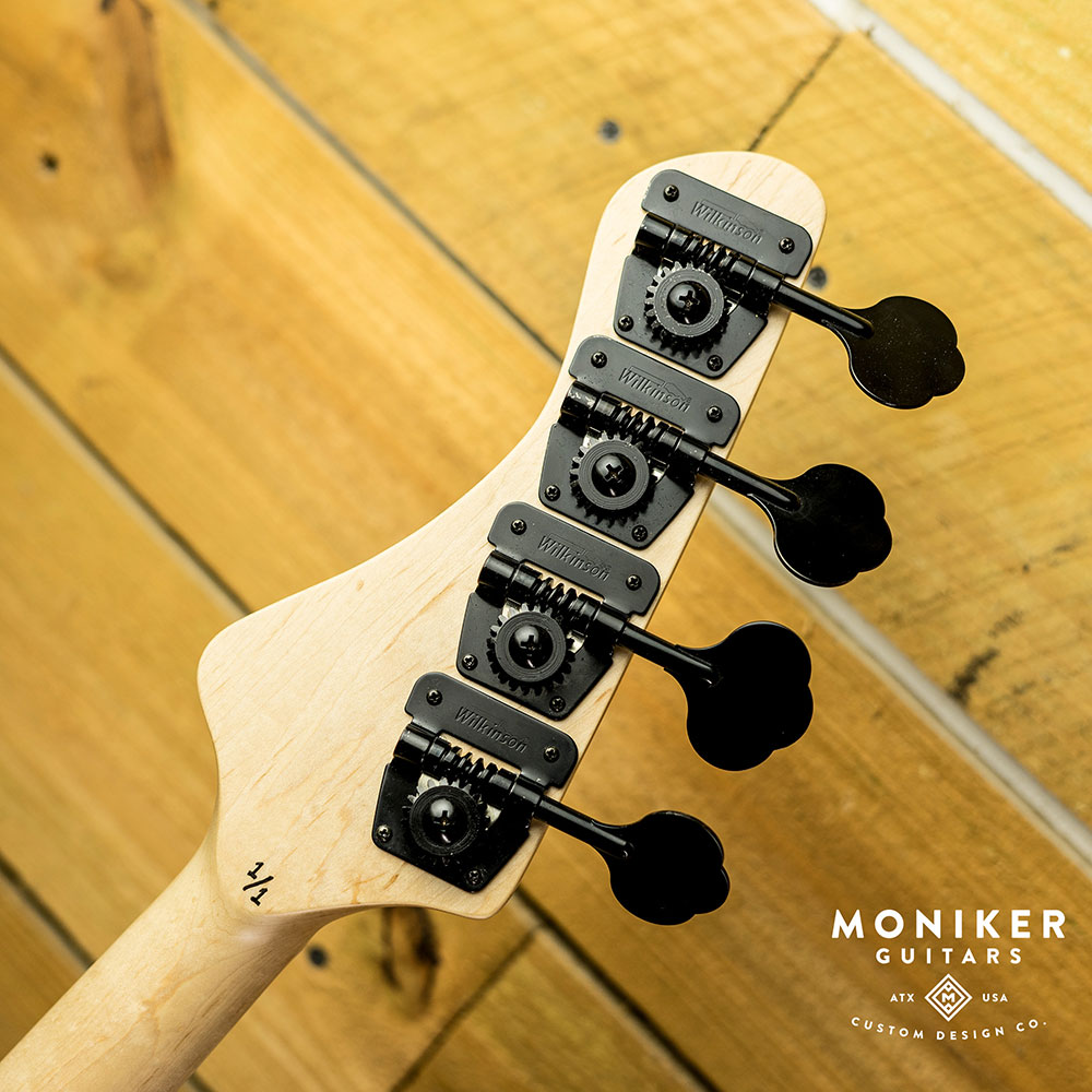 Moniker Guitars Natural Dixie Double P-Bass Back of Headstock