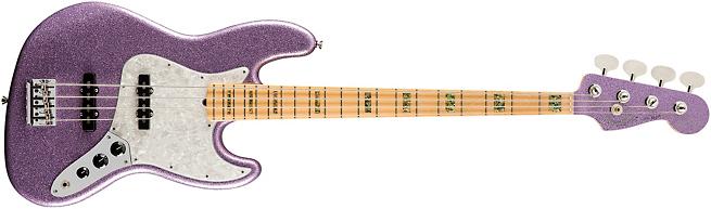 Fender Adam Clayton Signature Purple Sparkle Jazz Bass Front
