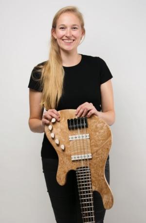 Frederiek de Vette with her Five-String Bolt-On Bass
