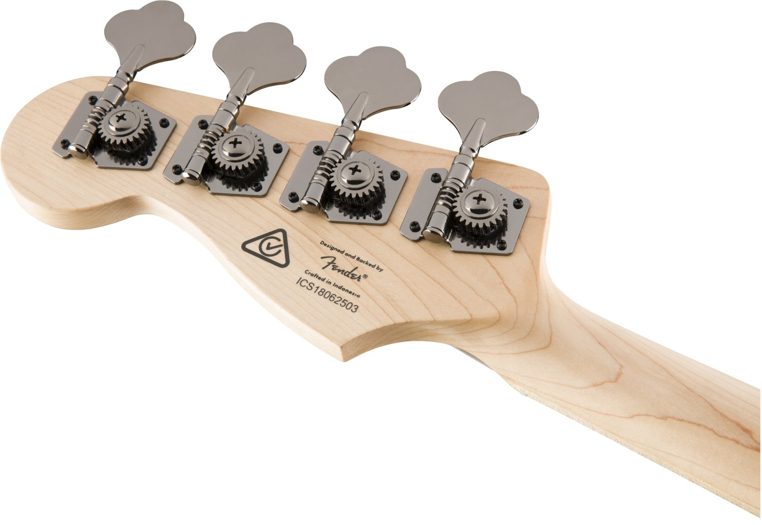 Squier Contemporary Active Jazz Bass V Black Back of Headstock