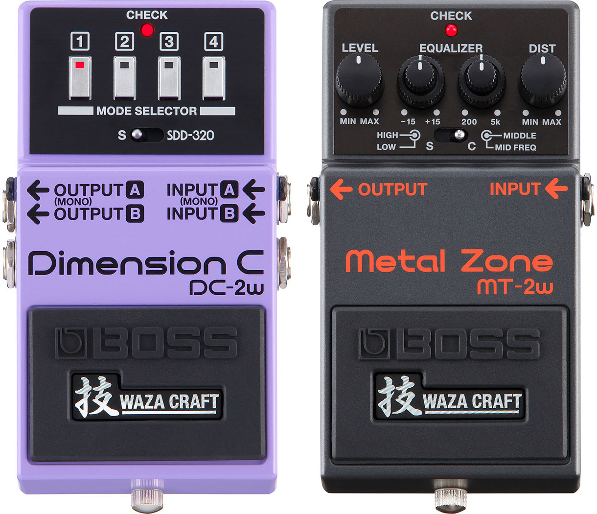 Boss DC-2W Dimension C and MT-2W Metal Zone Pedals