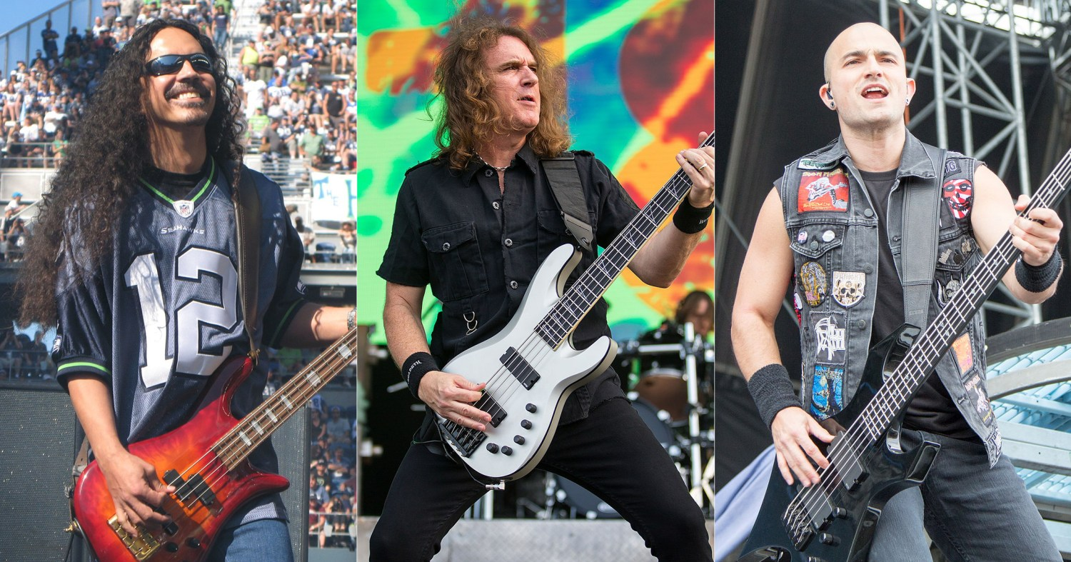 Mike Inez, David Ellefson, and Paolo Gregoletto