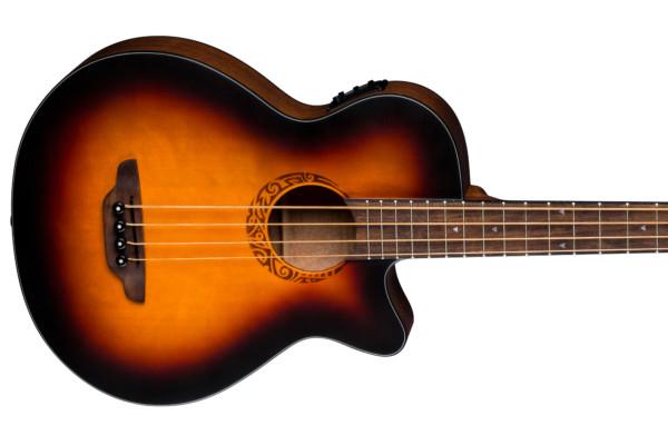 Luna Guitars Introduces the Tribal Tobacco Sunburst Acoustic-Electric Bass Guitar