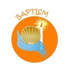 orange circle with baptism symbols inside