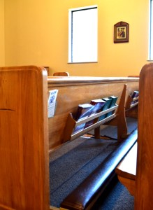 church pew and kneeler