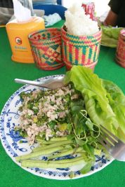 Sticky rice lao et poisson