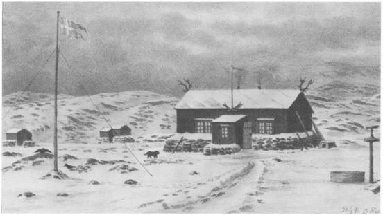 Ekspedisjonens stasjon ved Hekla Havn.