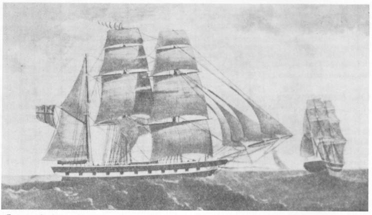 «Feronia», bark bygget i Tokeneskilen i 1857 på 195 lester, var en av de største seilskutene som ble bygget på Nøtterøy. Skuteportrettet her viser også samme skute sett aktenfra. Forliste vinteren 1864 på vei til Mandal.