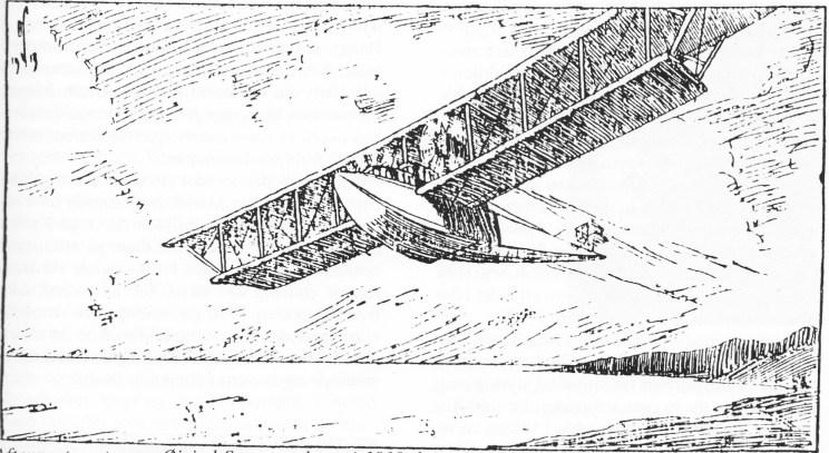 Aftenpostens tegner Øivind Sørensen laget i 1918 denne fartsfylte skissen av Hellesens prosjekterte, men aldri produserte, flyvebaat nr. 12. Tegningens originaltittel er «Luftomnibussen».