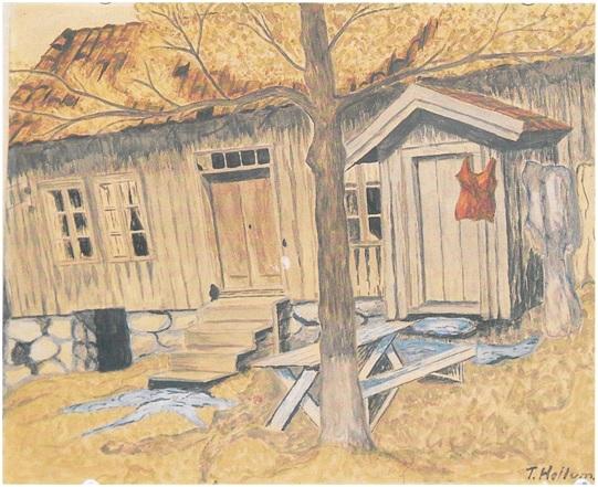 Jan Rasmussen Sandes gamle hjem på Nordre Sande (Akvarell T. Heilum.)