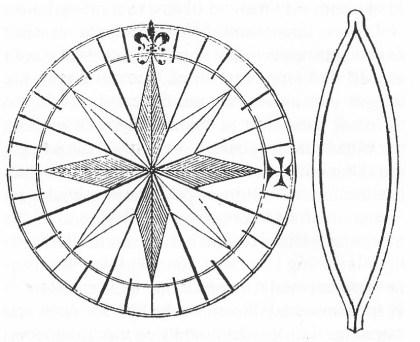 Kompassrose med tilhørende kompassmagnet gjengitt etter en spansk lærebok i navigasjon fra 1551. Legg merke til bruken av symboler. Det likearmede kors er brukt som symbol for Øst, «Den franske lilje» er brukt som symbol for nord. Denne symbolbruk var fra midt på 1500-tallet helt dominerende på kompassroser. Sym-bolbruken er kristen i samsvar med tankegangen i middelalderen. Korset (det likearmede kors) ble brukt som symbol for Øst da Det hellige Land lå mot Øst. «Den franske lilje» var et symbol både for treenigheten og for Jomfru Maria.
