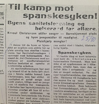 Fra Sandefjords blad 25/10-1918