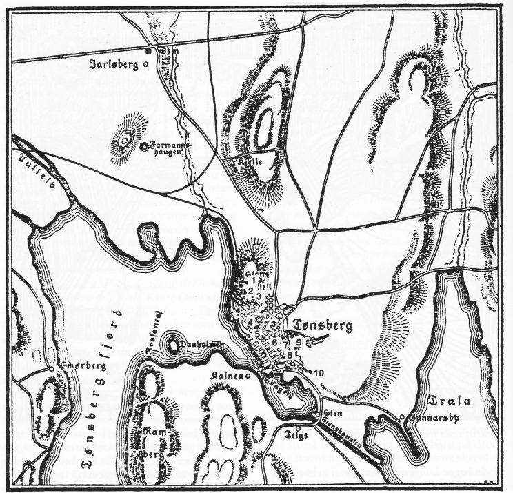 Kart over Tønsberg og omegn. Tegnforklaring: 1. Mikaelskirke, 2. Breidestuen, 3. Teglkastellet, 4. Kongsgården, 5. Laurentiuskirke, 6. Mariakirke, 7. Gråbrødreklostre, 8. Olavskirke, 9. Haugar (Møllebakken), 10. St. Stefans hospital.