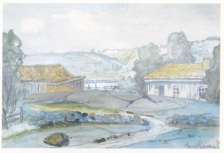 Fra «Myra» (Agdenes) i Årøsund hvor Einar Tideman Andersen drev bakeri fra 1930 og under krigen (i huset til venstre). Maleriet er fra juli 1913 og signert av (Hans) Henrik (Sartz) Backer (1854-1948). Han var firemenning av søstrene Agathe Backer Grøndahl og Harriet Backer. Maleriet var en gave til kaptein J. Sanne.