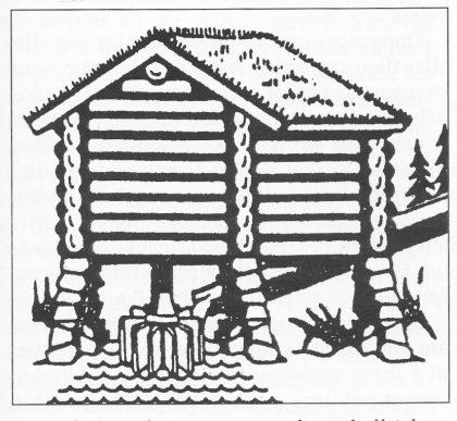 Kvernhus med vannrenne og kvernkall (skovlehjul).